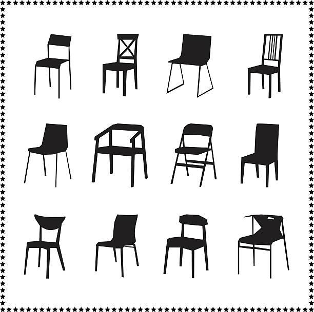 stuhl und symbole - stuhllehnen stock-grafiken, -clipart, -cartoons und -symbole