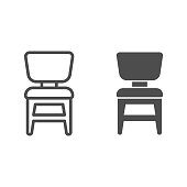 Chair line and solid icon, Furniture concept, Wooden chair sign on white background, armchair icon in outline style for mobile concept and web design. Vector graphics