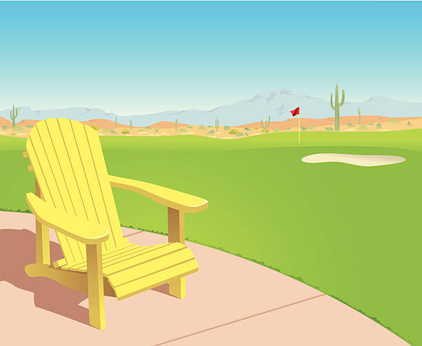 Chair on Desert Golf Course A yellow Adirondack chair sits alongside a sunny golf course in the desert.  adirondack chair stock illustrations