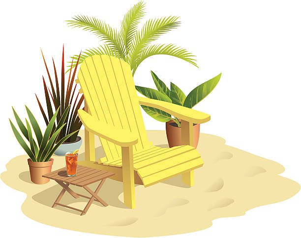 Chair on Sand in Sunlight with Plants An adirondack chair sits in the sun in a relaxing sandy spot. Chair, plants, table all on separate layers.  adirondack chair stock illustrations