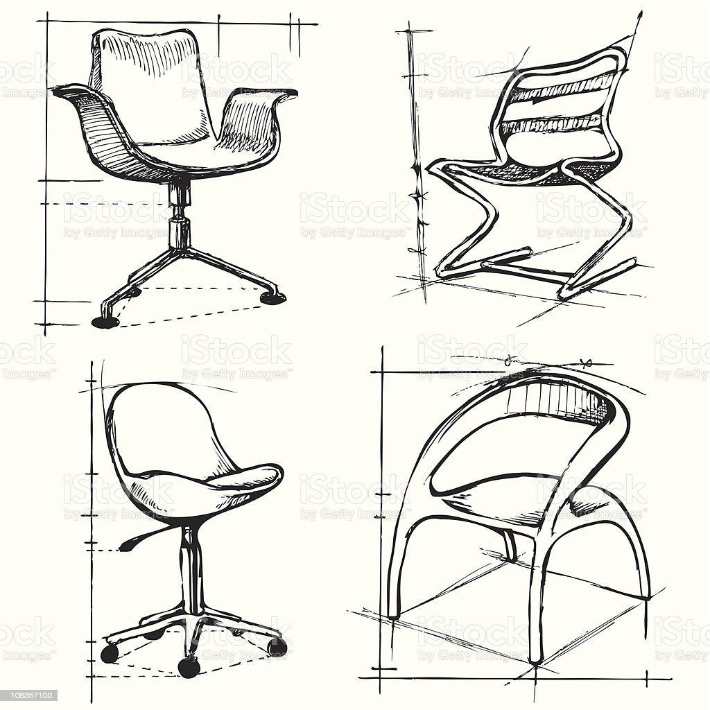 Stuhl Skizze 2 Vektor Stock Vektor Art Und Mehr Bilder Von Bildkomposition Und Technik