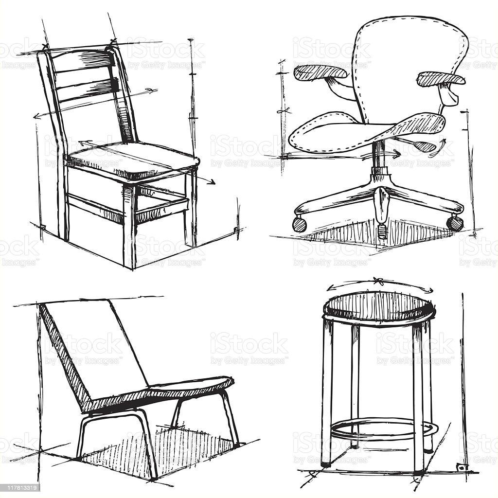 의자 도면 벡터 일러스트 117813319 Istock