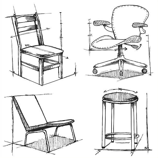 stuhl skizze (vektor - möbeldesign stock-grafiken, -clipart, -cartoons und -symbole