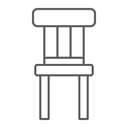 Chair thin line icon, furniture and home, stool sign, vector graphics, a linear pattern on a white background.