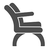 Chair with elbow rest solid icon, Furniture concept, Barber chair sign on white background, elegance armchair icon in glyph style for mobile concept and web design. Vector graphics
