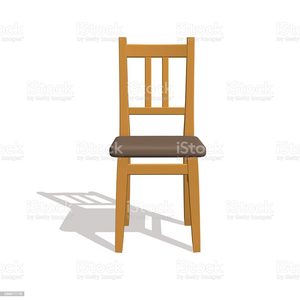 wooden chair front view. Chair.Isolated On White. 3d Vector Illustration.Front View. Royalty-free Wooden Chair Front View