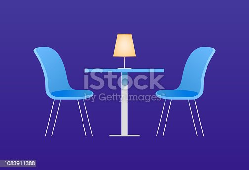 Chairs and table in cafe. Vector illustration with furniture elements for an interior of cafe or the dining room