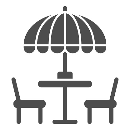 Chairs and table with umbrella solid icon, Street food concept, Outdoor table with umbrella sign on white background, outside cafe symbol in glyph style for mobile and web. Vector graphics.