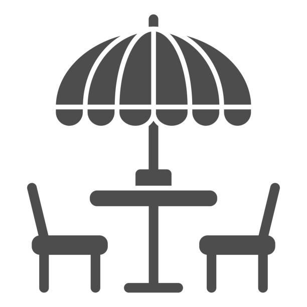 bildbanksillustrationer, clip art samt tecknat material och ikoner med stolar och bord med paraply solid ikon, street food koncept, utomhus bord med paraply skylt på vit bakgrund, utanför café symbol i glyf stil för mobil och webb. vektorgrafik. - wood sign isolated
