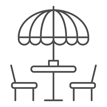 Chairs and table with umbrella thin line icon, Street food concept, Outdoor table with umbrella sign on white background, outside cafe symbol in outline style for mobile and web. Vector graphics.
