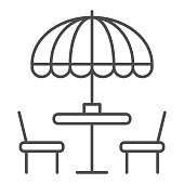 istock Chairs and table with umbrella thin line icon, Street food concept, Outdoor table with umbrella sign on white background, outside cafe symbol in outline style for mobile and web. Vector graphics. 1252318573