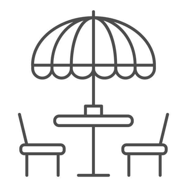 bildbanksillustrationer, clip art samt tecknat material och ikoner med stolar och bord med paraply tunn linje ikon, street mat koncept, utomhus bord med paraply skylt på vit bakgrund, utanför café symbol i kontur stil för mobil och webb. vektorgrafik. - wood sign isolated