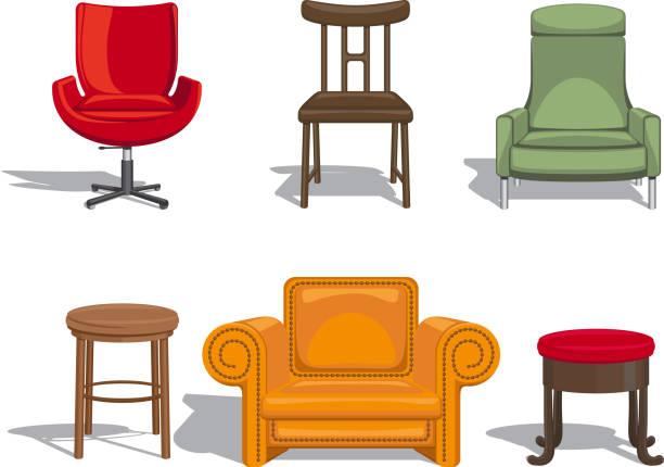 stühle, sessel, stühlen und symbole - stuhllehnen stock-grafiken, -clipart, -cartoons und -symbole