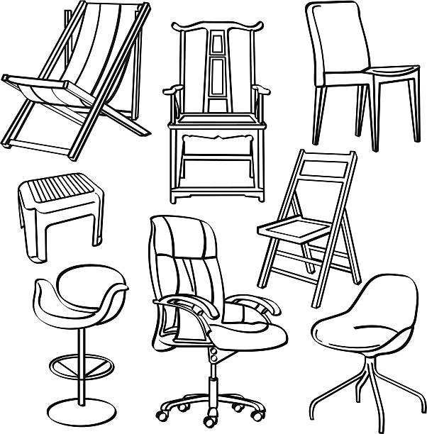 Chairs Collection A collection of different kinds of chairs. It contains hi-res JPG, PDF and Illustrator 9 files. outdoor chair stock illustrations