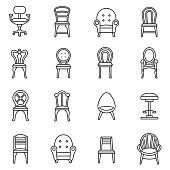 Chairs icons set. Editable stroke