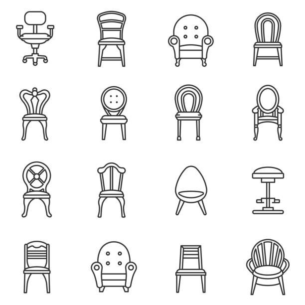 bildbanksillustrationer, clip art samt tecknat material och ikoner med stolar ikoner set. redigerbara stroke - stol