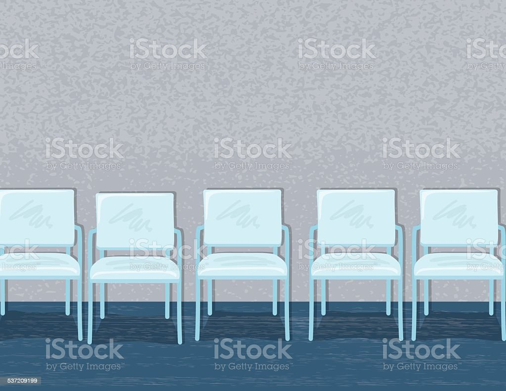 Chairs Lined Up In An Empty Waiting Room Or Office vector art illustration