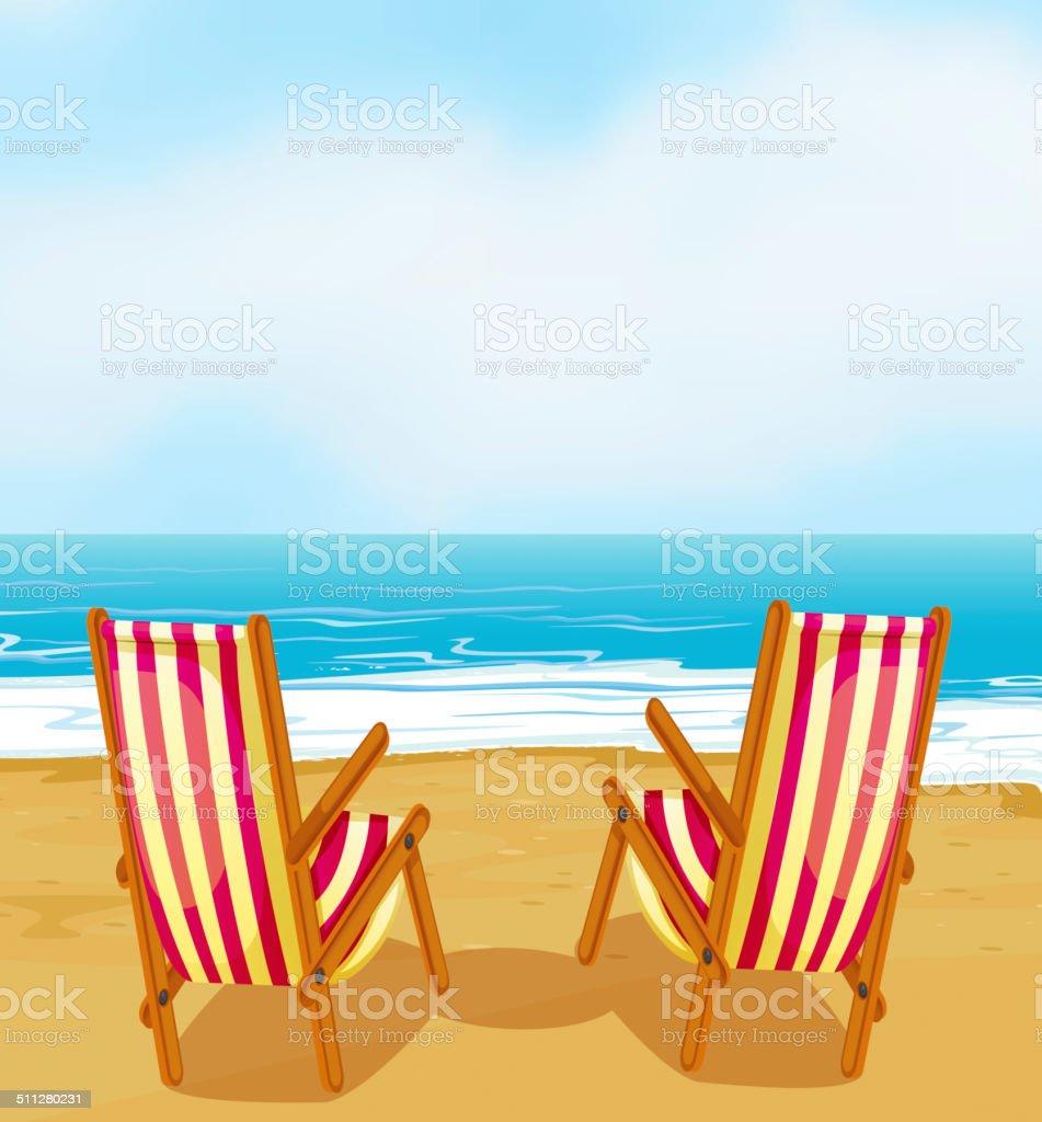 Chairs on beach vector art illustration