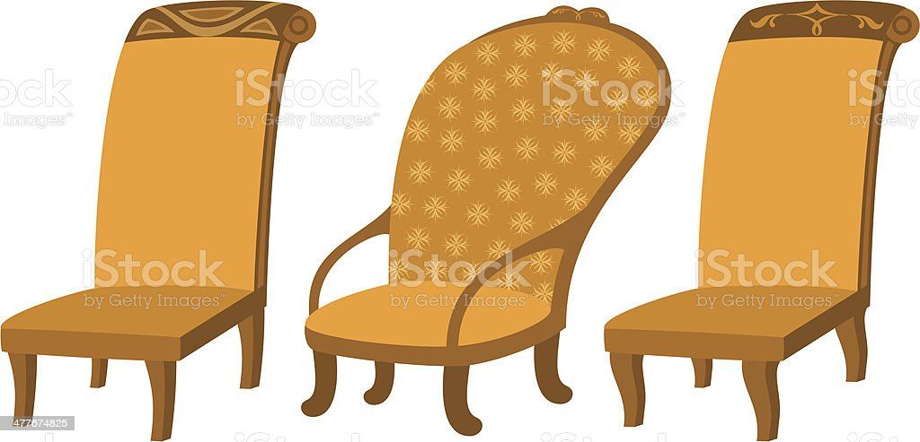 Chairs, set royalty-free stock vector art
