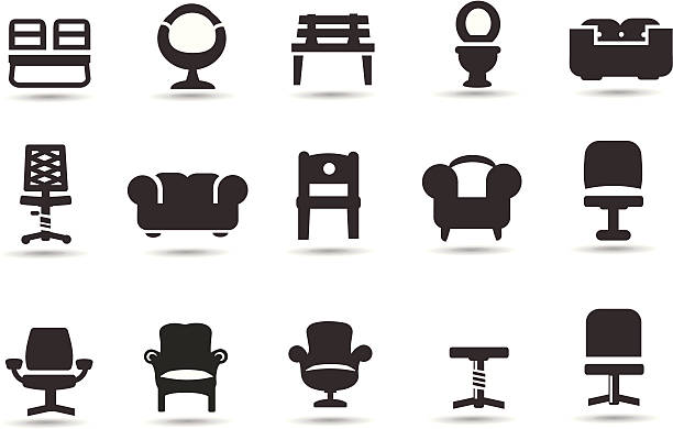 Chairs Professional vector Icons with Vector EPS file, High resolution jpeg and transparent PNG file.    armchair stock illustrations
