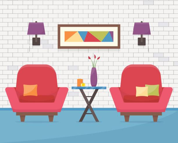 mit kleinen tisch stühlen - stuhllehnen stock-grafiken, -clipart, -cartoons und -symbole