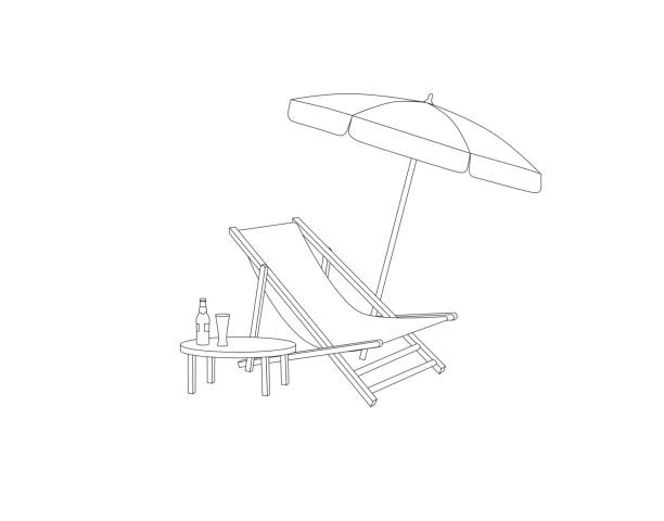 Chaise longue, table, parasol isolated. Deckchair outline drawing. Deck chair, table, parasol- summer sunbath beach resort symbol of the holidays vector art illustration