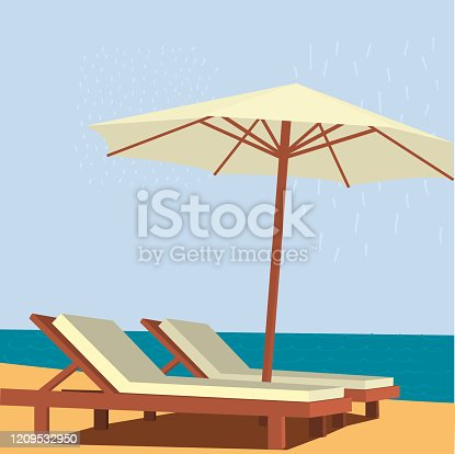 istock Chaise lounge and umbrella on sand beach 1209532950