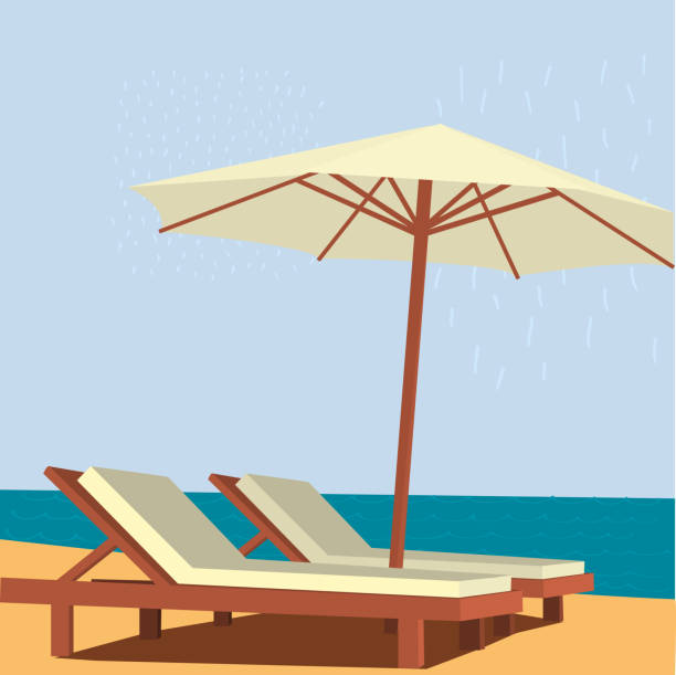 Chaise lounge and umbrella on sand beach Chaise lounge and umbrella on sand beach. Vector illustration. horizon over water stock illustrations