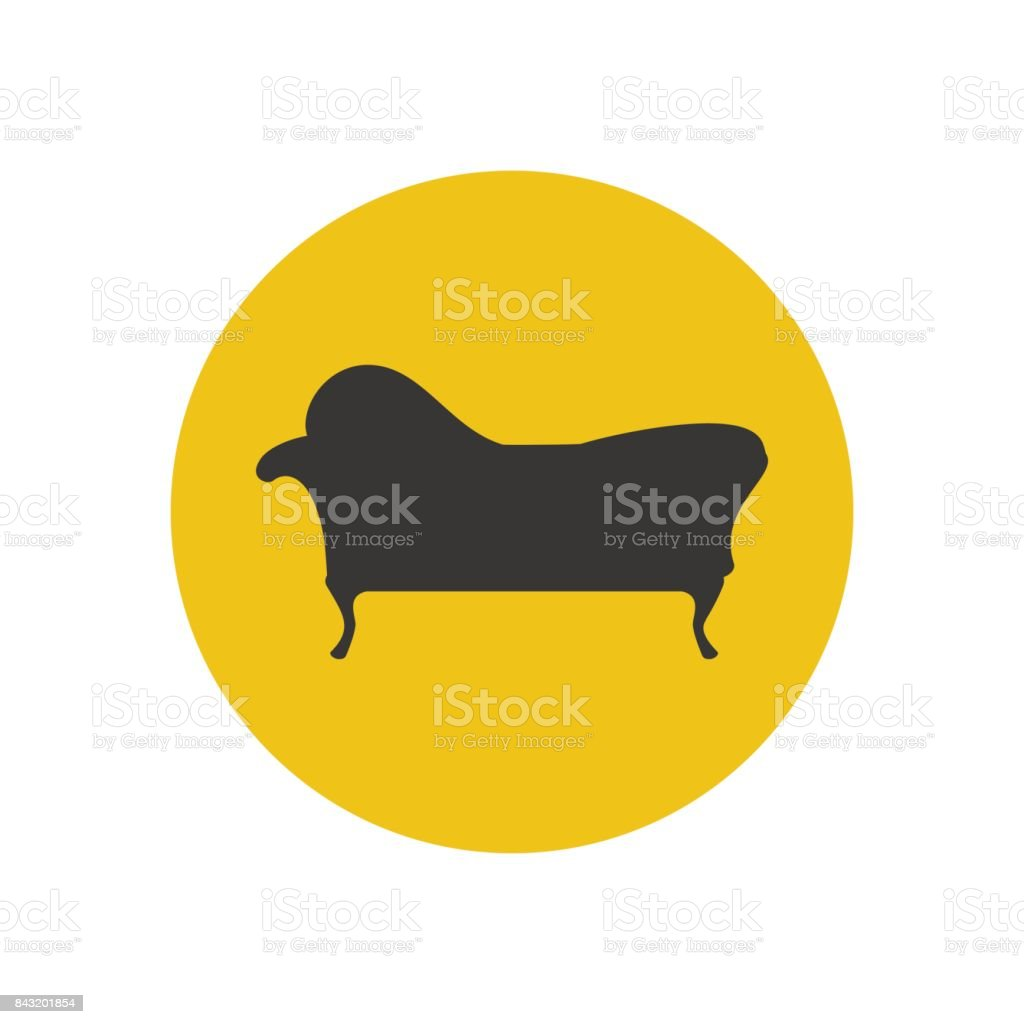 Chaise lounge armchair seat silhouette vector art illustration