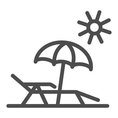 Chaise lounge on beach line icon, Summer concept, Deck chair with umbrella sign on white background, Beach parasol and lounger icon in outline style for mobile, web design. Vector graphics.