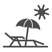 Chaise lounge on beach solid icon, Summer concept, Deck chair with umbrella sign on white background, Beach parasol and lounger icon in glyph style for mobile, web design. Vector graphics