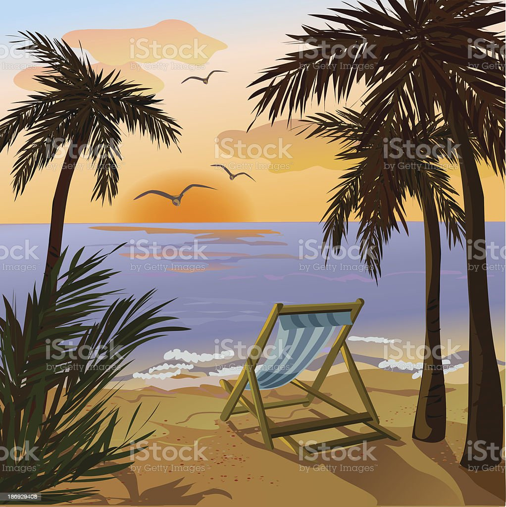 chaise lounge, palms and sunset on the sea royalty-free chaise lounge palms and sunset on the sea stock vector art & more images of backgrounds