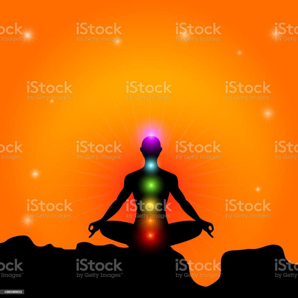 Chakra And Meditation vector art illustration