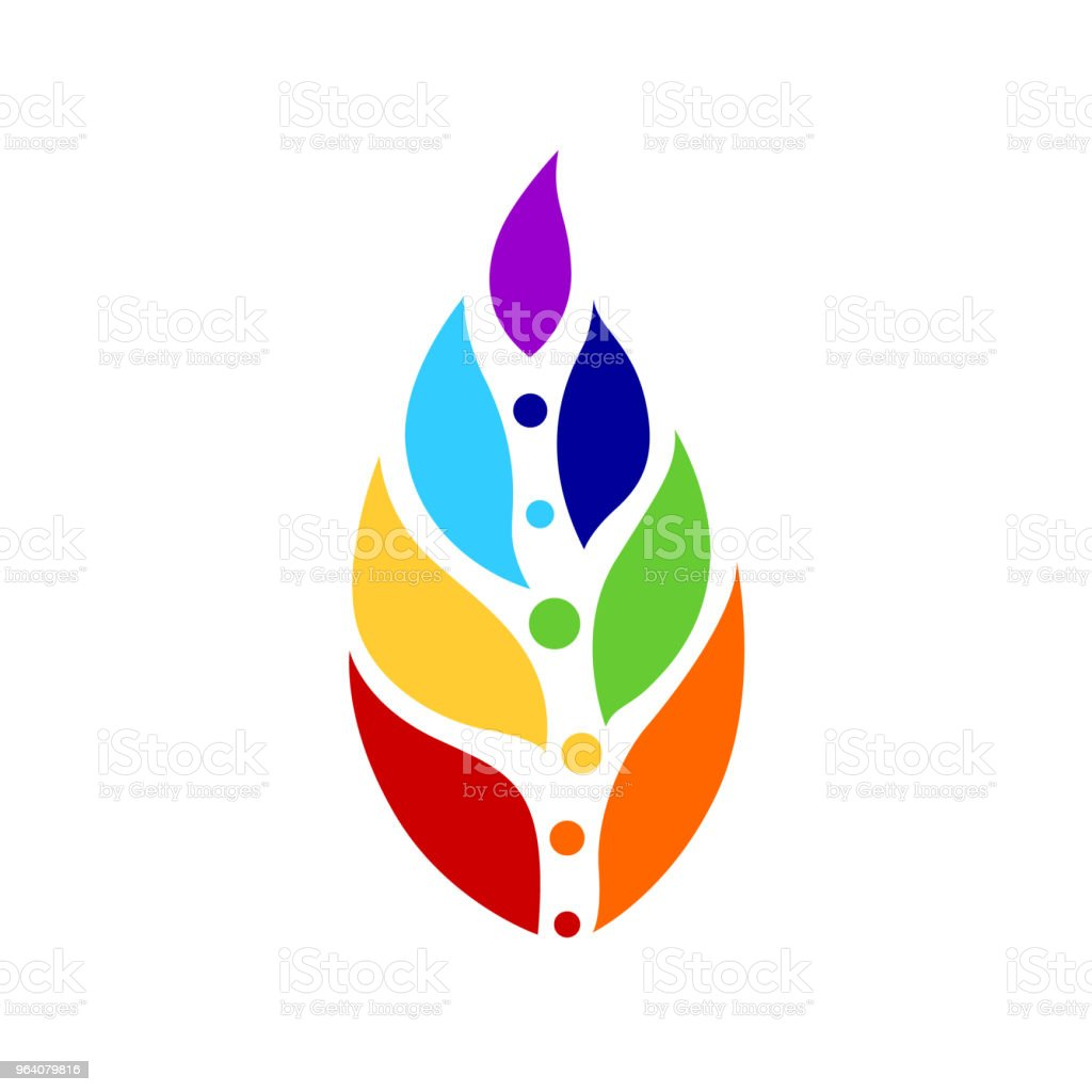 7 chakra color icon symbol logo sign, flower floral, vector design illustration concept drawing - Royalty-free Abstract stock vector