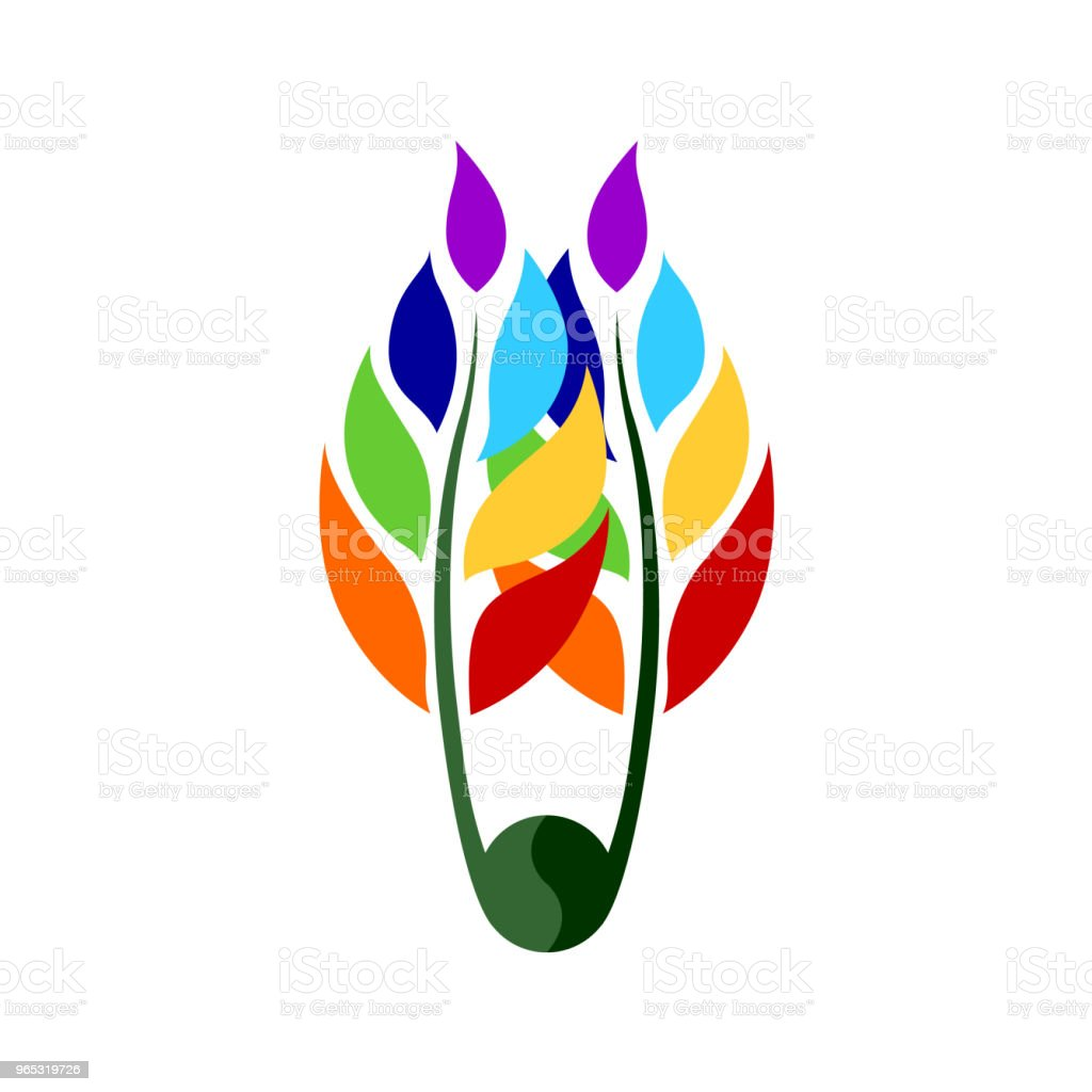 7 Chakra Couleur Icône Symbole Logo Signe Fleur Floral