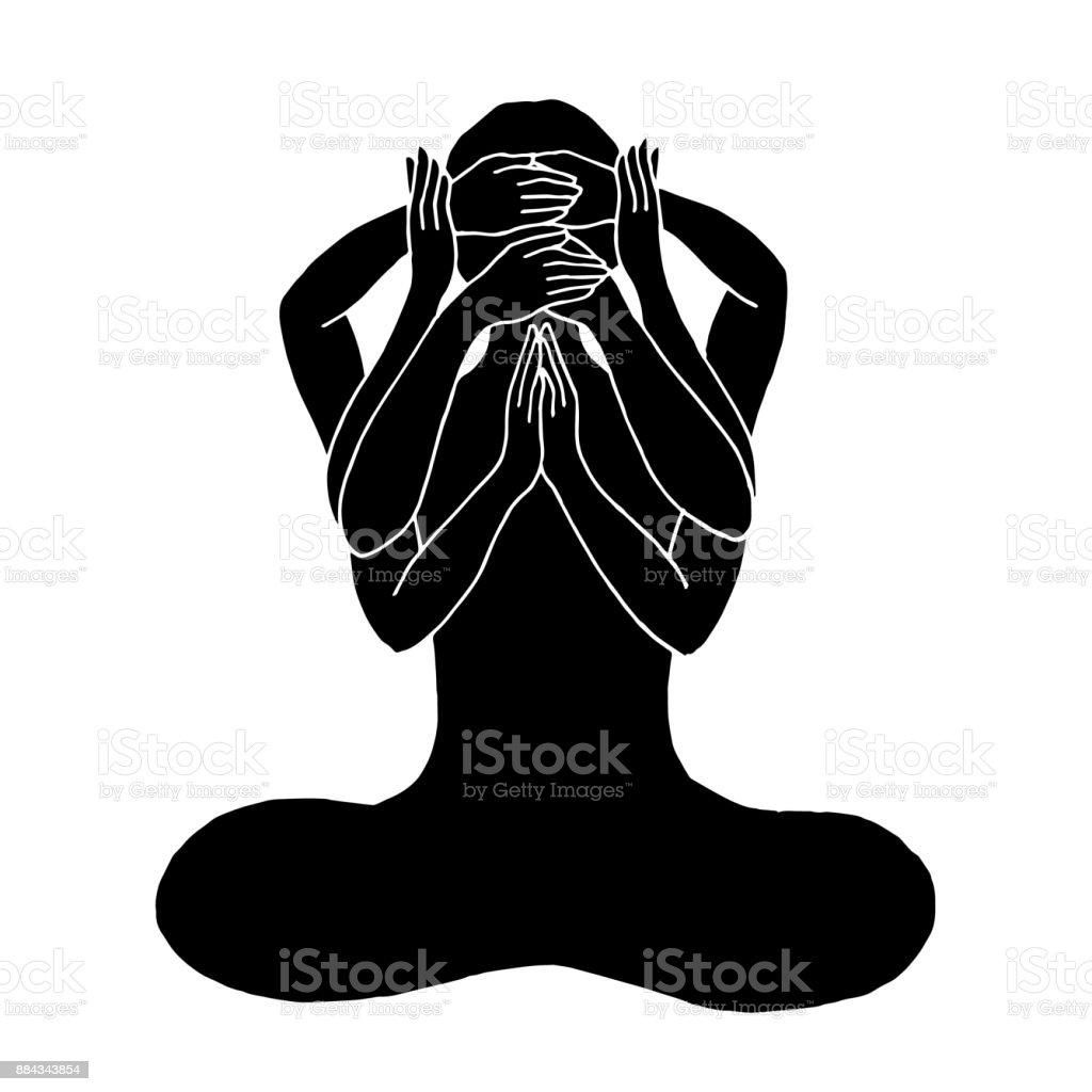 Chakra Lotus Yoga Darstellen Auge Ohr Mund Schließen Und öffnen Sie ...
