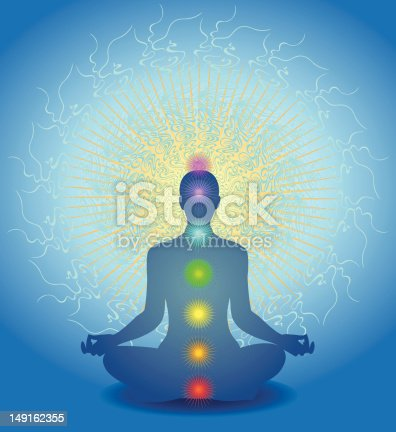 A figure sits in deep meditation. Multiple energy systems are shown including the chakras in their corresponding colors.