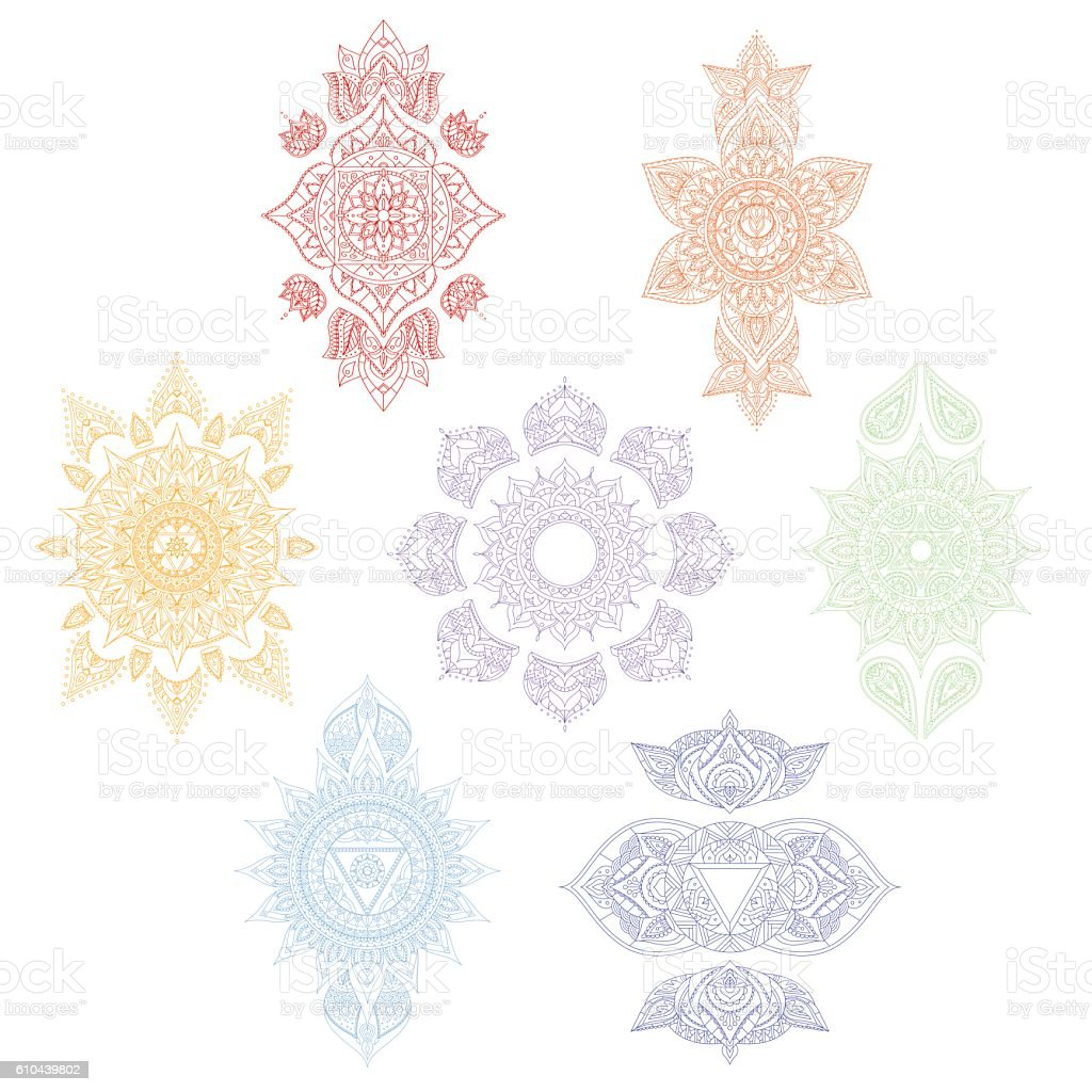 Chakra Set. Vector vector art illustration