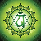 Chakra Symbol 4. The Anahata Chakra in the middle of a 12-petaled Lotus flower. The Anahata Chakra or Heart Chakra is symbolised a love, feelings, sympathy, compassion, empathy, a sense of harmony and grace.