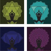 A woman practicing yoga/meditating in front of chakras 4 - 7. Seamless wallpaper swatches included to make editing the backgrounds easy.  (Includes .jpg)