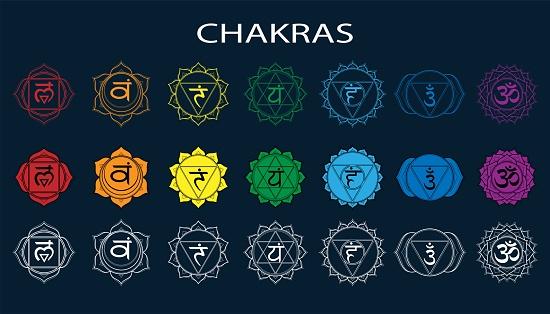 Chakras set: muladhara, swadhisthana, manipura, anahata, vishuddha, ajna, sahasrara. Vector line symbol. Om sign on a black background. EPS 10 Vector illustration
