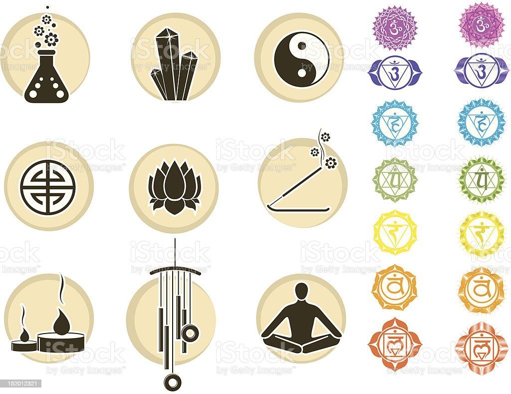 Chakras symbols and spirituality icons royalty-free stock vector art