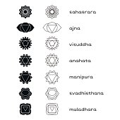 Chakras vector icons black and white