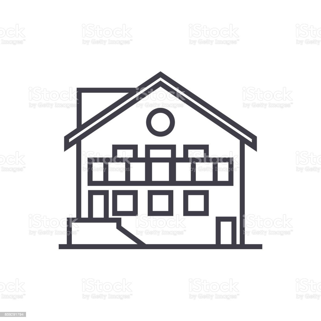 chalet vector line icon, sign, illustration on background, editable strokes vector art illustration