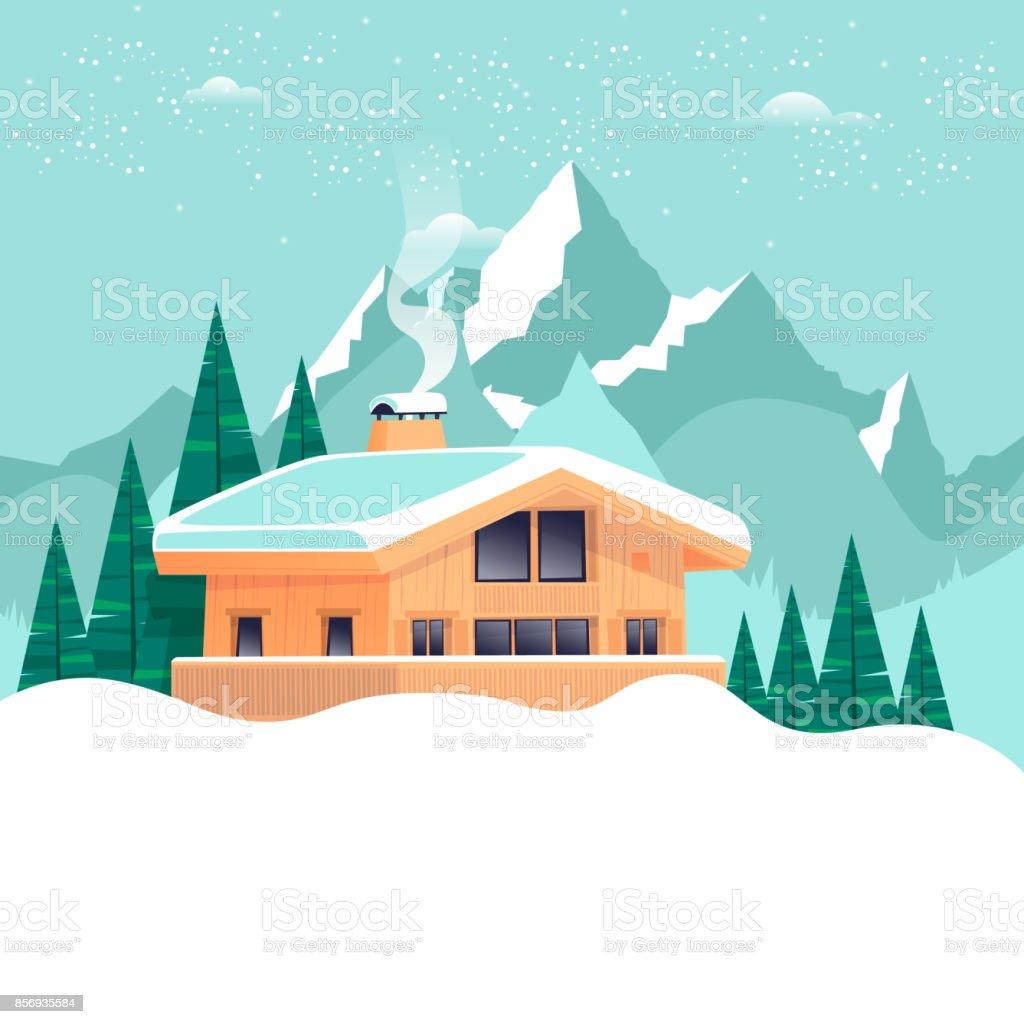 Chalet, winter landscape with mountains. Flat design vector illustration. vector art illustration