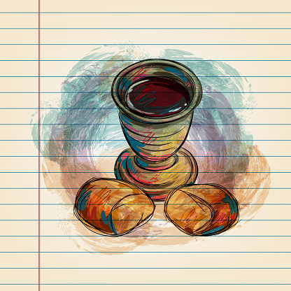 Chalice and Bread Drawing on Ruled Paper