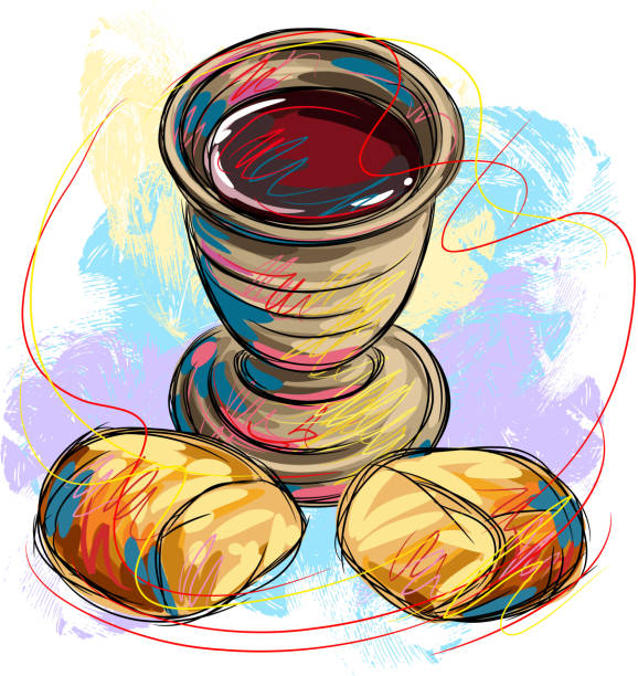 Best Bread And Wine Illustrations, Royalty-Free Vector ...