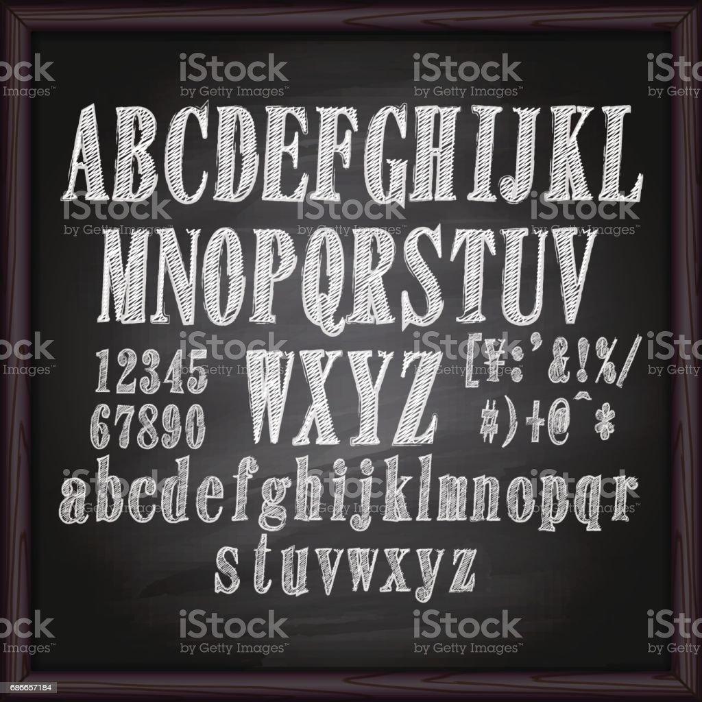 Alfabeto de dibujo en la pizarra de tiza ilustración de alfabeto de dibujo en la pizarra de tiza y más banco de imágenes de bar libre de derechos