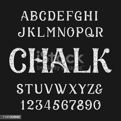 Chalk alphabet font. Handwritten uppercase letters and numbers. Stock vector typescript.