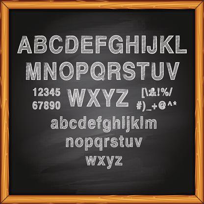 Chalk Alphabet on blackboard